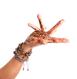 Female hand gesture of oriental dance. Female hand with henna pa Royalty Free Stock Photo