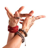 Female hand gesture of oriental dance. Female hand with henna pa Royalty Free Stock Photography