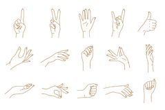 Hand gestures contour vector set. Female hand gestures contour graphic vector set Royalty Free Stock Photography