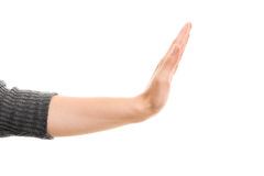 Female hand gesturing stop. Stock Photography