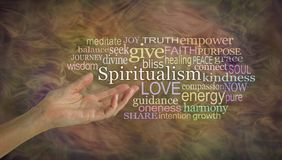 The meaning of Spiritualism Word Cloud. Female hand gesturing towards the word SPIRITUALISM surrounded by a word cloud on a earthy gaseous ethereal background Royalty Free Stock Photos