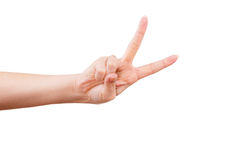 Female hand gesturing victory sign. Female hand showing thumb up, ok, all right, victory hand sign gesture. Gestures and signs. Body language on white background Stock Photos