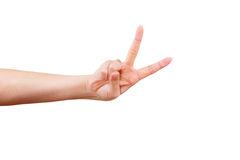 Female hand gesturing victory sign. Female hand showing thumb up, ok, all right, victory hand sign gesture. Gestures and signs. Body language on white background Stock Image