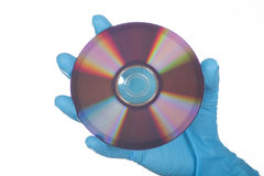 Female Hand in glove with dvd Stock Photography