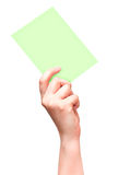 Female hand with green card isolated on white Stock Photography