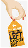 Female Hand Gripping a Tag Celebrating International Left Handers Day, Vector Illustration Stock Image