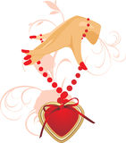 Female hand with heart Stock Photos