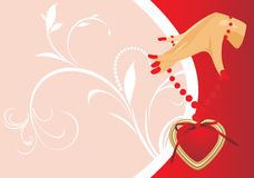 Female hand with heart. Valentines card Stock Images