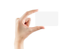 Female hand hold blank card. Isolated on white background with clipping paths Royalty Free Stock Photo