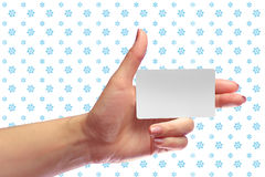 Female Hand Hold Blank White Card Mock-up. SIM Christmas Gift. Loyalty Shop Card. Plastic Transport Ticket. Transponder NFC Royalty Free Stock Photo