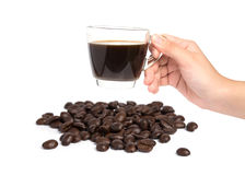 Female hand hold cup of coffee on white background Royalty Free Stock Photos