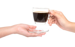 Female hand hold cup of coffee on white background Stock Photos