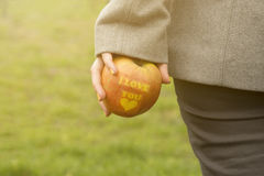 Female hand holding an apple with I love you inscription outdoors Royalty Free Stock Photography