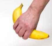 Female hand holding banana isolated. On white Royalty Free Stock Image