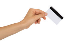 Female hand holding a bank card Royalty Free Stock Image