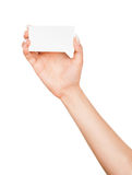Female hand holding a blank business card Stock Images