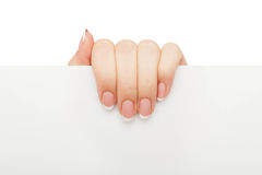 Female hand holding blank paper, crop, cut out Stock Image