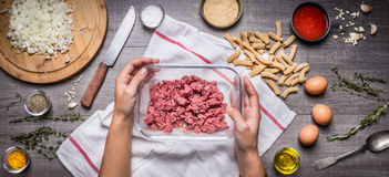 Female hand holding a bowl with minced meat on rustic kitchen table, around lie ingredients for a tasty cooking pasta with meat ba Royalty Free Stock Image