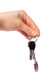Female hand holding bunch of keys Royalty Free Stock Photography