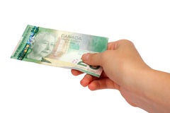Female hand holding Canadian money. Isolated on a white background Royalty Free Stock Images