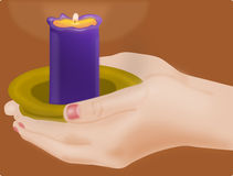 Female hand holding a candle. Female hands holding a blue candle on brown background vector illustration