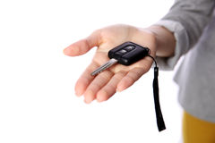 Female hand holding car keys Royalty Free Stock Photo