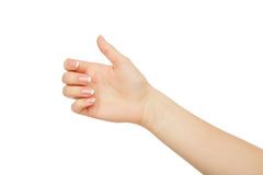 Female hand holding card, phone or other, crop, cutout Royalty Free Stock Photos