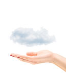 Female hand holding clouds Royalty Free Stock Photography