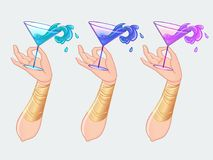 Free Female Hand Holding Cocktail Glass With  Splash. Art Deco (1920  Stock Photo - 114746900