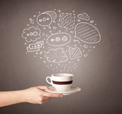 Female hand holding coffee cup Stock Photo