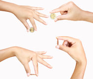 Female hand holding   coin Stock Photography