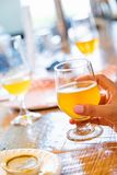Female Hand Holding Glass of Micro Brew Beer At Bar. Female Hand Holding a Cold Glass of Micro Brew Beer At Bar royalty free stock photo