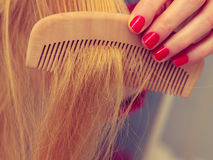 Female hand holding comb closeup. Female hand red nails manicure holding wooden comb, combing long blonde hair in bathroom closeup stock photos