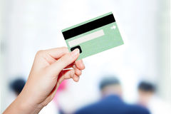 Female  hand holding credit card Stock Photos