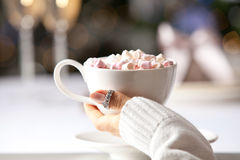 Female hand holding a cup of hot chocolate with marshmallows. stock image