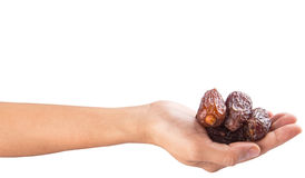 Female Hand Holding Date Fruits IX Royalty Free Stock Photo