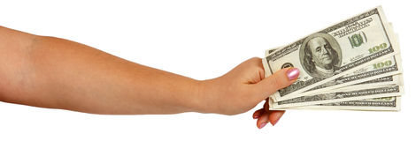 Female hand holding dollars Stock Image