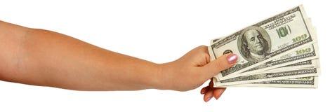 Female hand holding dollars Stock Image
