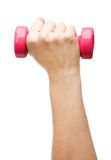 Female hand holding a dumbbell Stock Photo