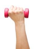 Female hand holding a dumbbell Stock Photo
