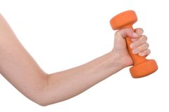 Female hand holding a dumbbell Stock Photos