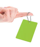 Female hand holding empty price tag Stock Photography