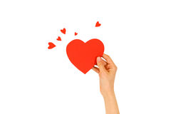 Female hand holding empty red Valentines card with heart on a white background royalty free stock photos