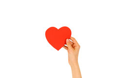 Female hand holding empty red Valentines card with heart on a white background royalty free stock images
