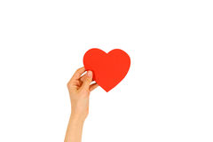 Female hand holding empty red Valentines card with heart on a white background royalty free stock image