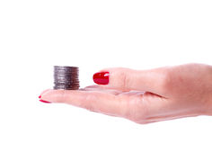 Female hand holding euro coin Royalty Free Stock Photography