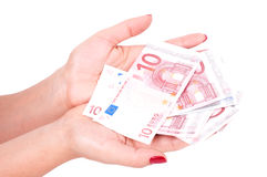 Female hand holding european money Stock Image