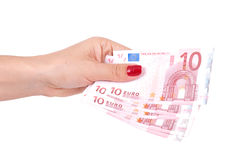 Female hand holding european money Stock Photography