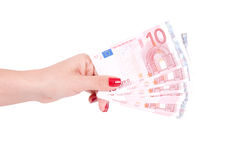 Female hand holding european money Stock Photos