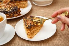 Female hand holding a fork and going to taste homemade chocolate. Cake lying on white saucer Stock Image